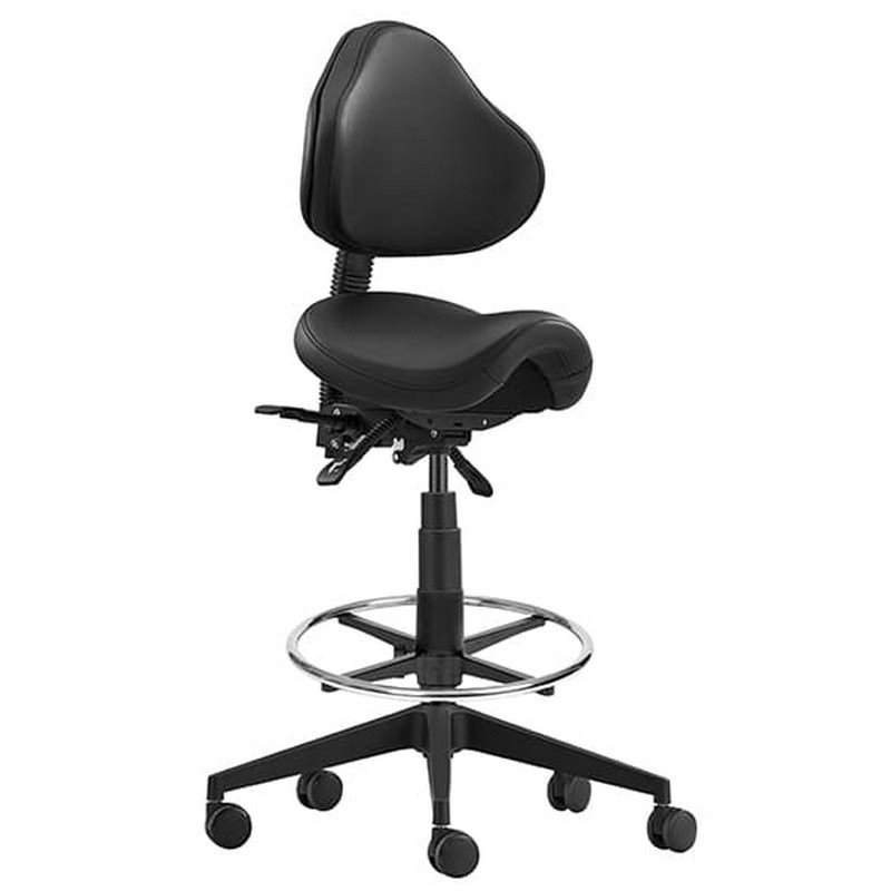 Stage PU Leather Industrial Drafting Stool, 68.5-80cm