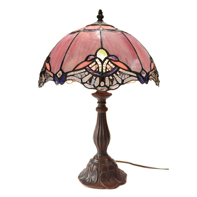 Memphis Tiffany Style Stained Glass Table Lamp, Medium, Blush
