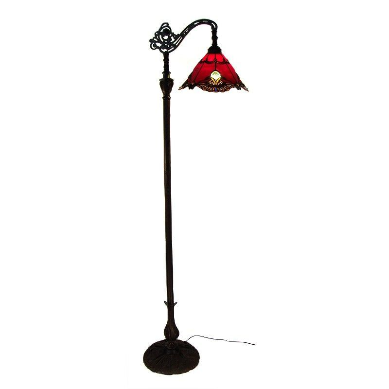 Benita Tiffany Style Stained Glass Edwardian Floor Lamp, Red