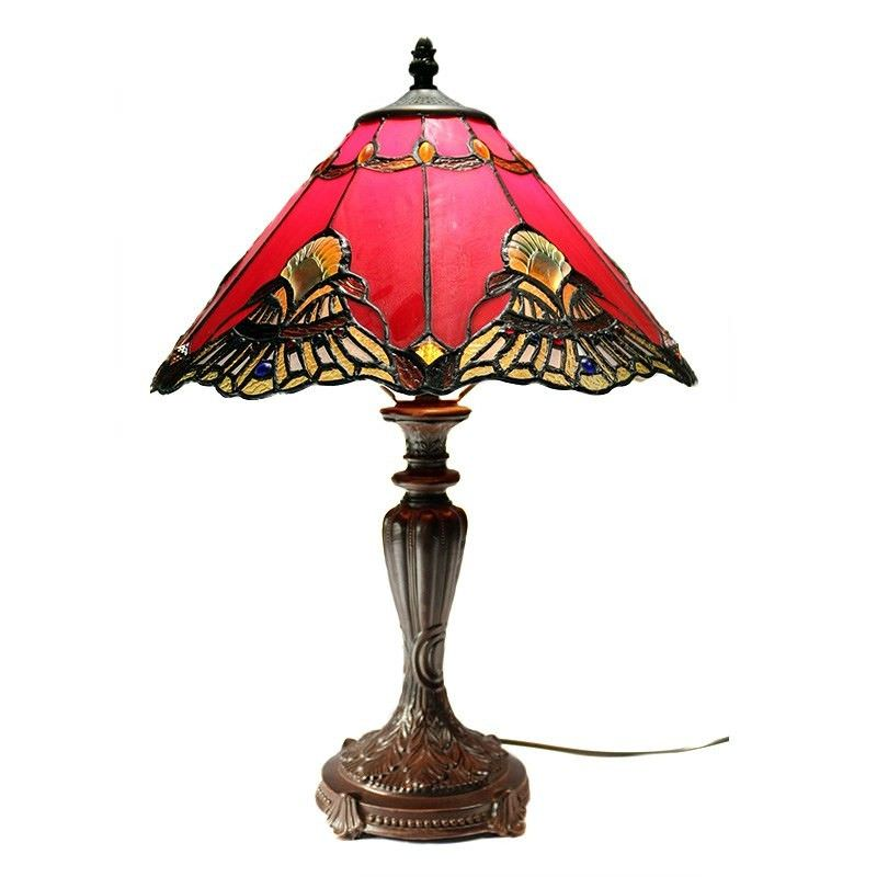 Benita Tiffany Style Stained Glass Table Lamp, Medium, Red