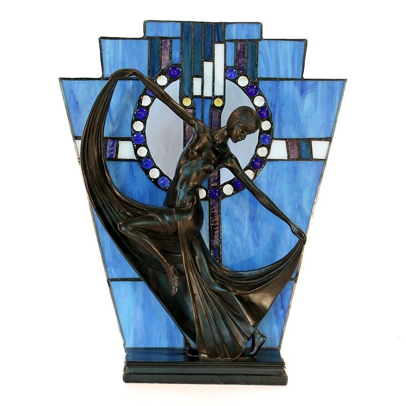 Mazie Tiffany Style Stained Glass Figurine Decor Lamp, Blue