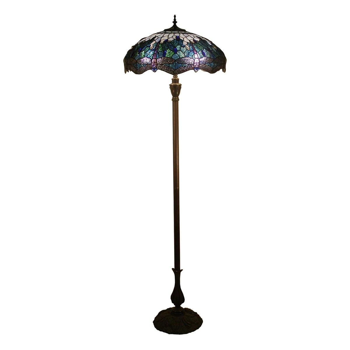 Blue Dragonfly Tiffany Style Stained Glass Floor Lamp