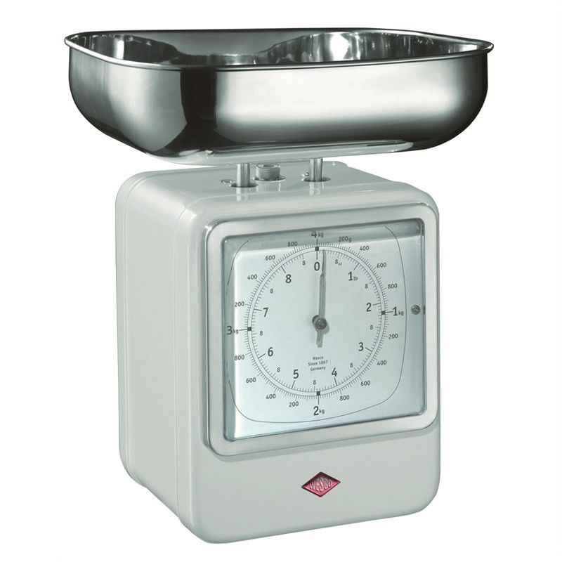 Wesco Stainless Steel Retro Scale with Clock - White