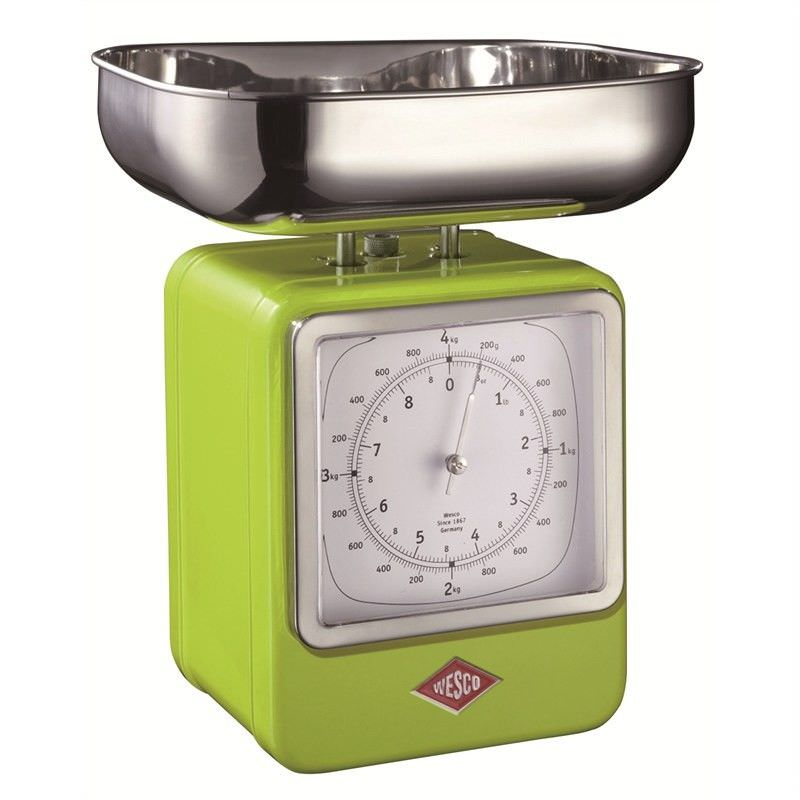 Wesco Stainless Steel Retro Scale with Clock - Lime Green