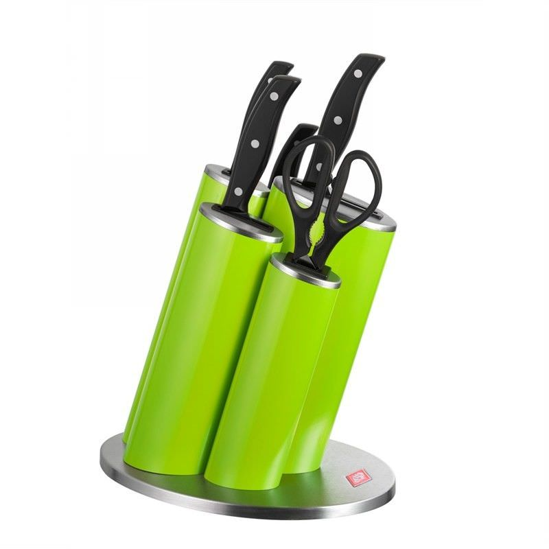 Wesco Stainless Steel Asia Knife Block Set, Lime Green