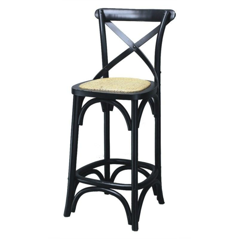 Sherwood Solid Oak Timber Cross Back Counter Chair with Rattan Seat, Distressed Black