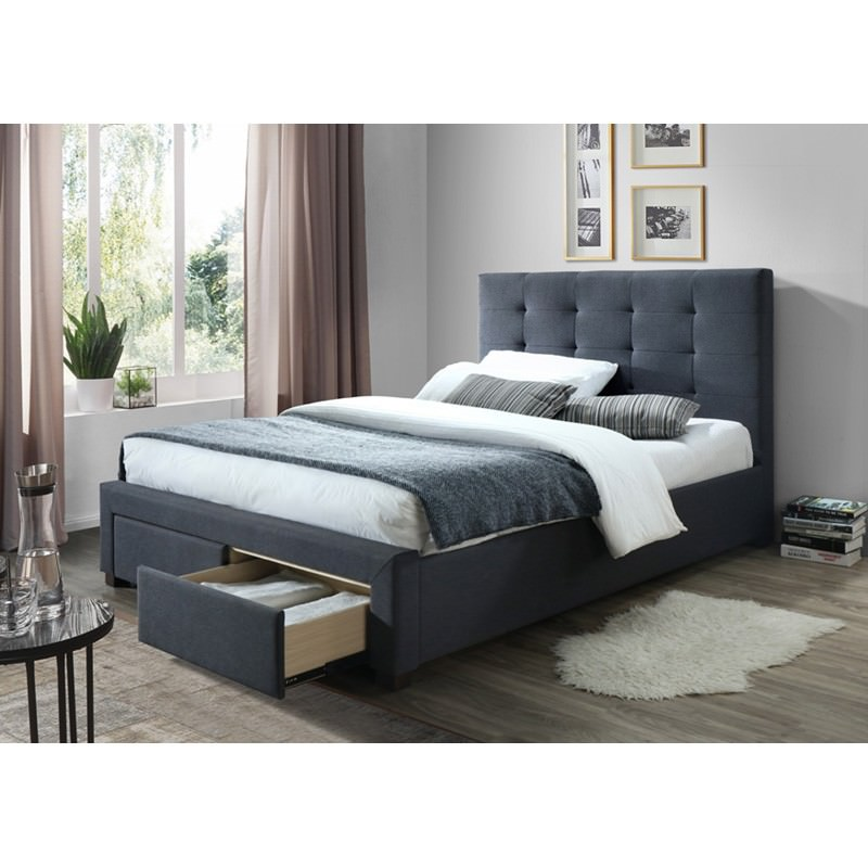 Massadona Fabric Bed with End Drawers, King Single, Grey
