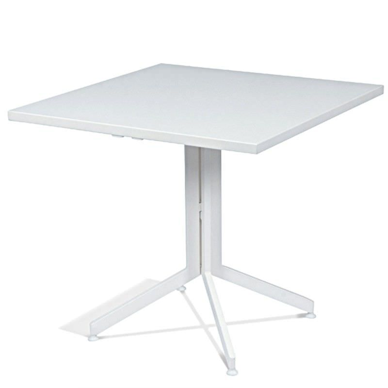 Wanika Commercial Grade Metal Foldable Indoor / Outdoor Square Dining Table, 70cm, White