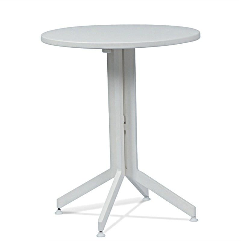 Wanika Commercial Grade Metal Foldable Indoor / Outdoor Round Dining Table, 60cm, White