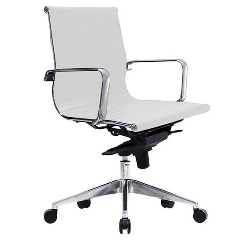 Web PU Leather Executive Office Chair, Low Back, White