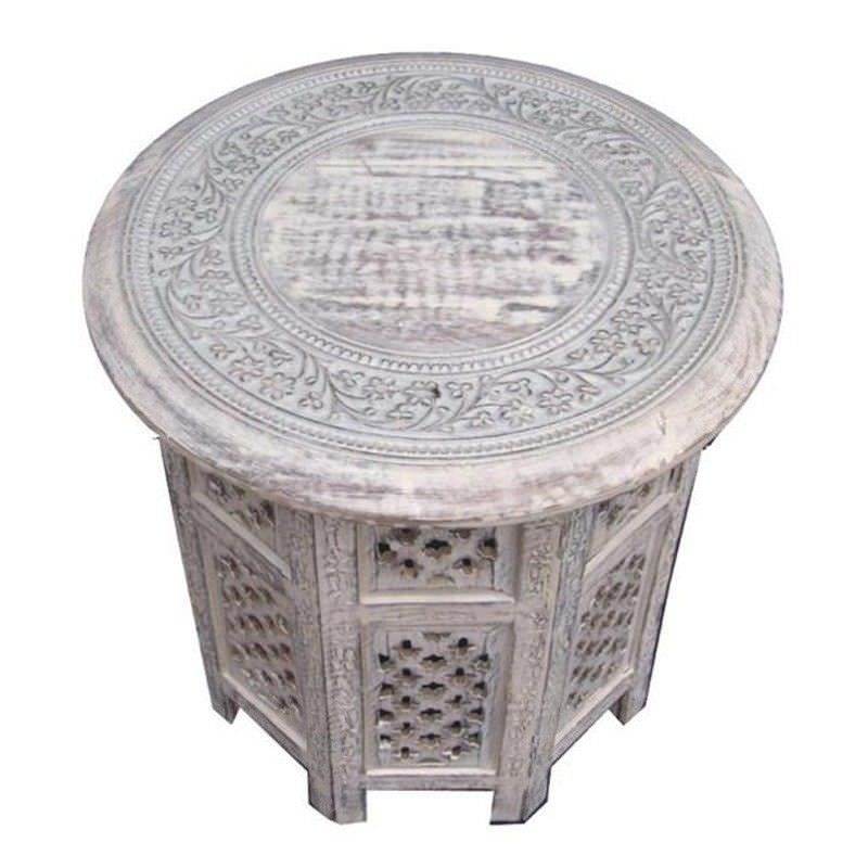 Carved Rubber Wood Timber Round Side Table, White Wash