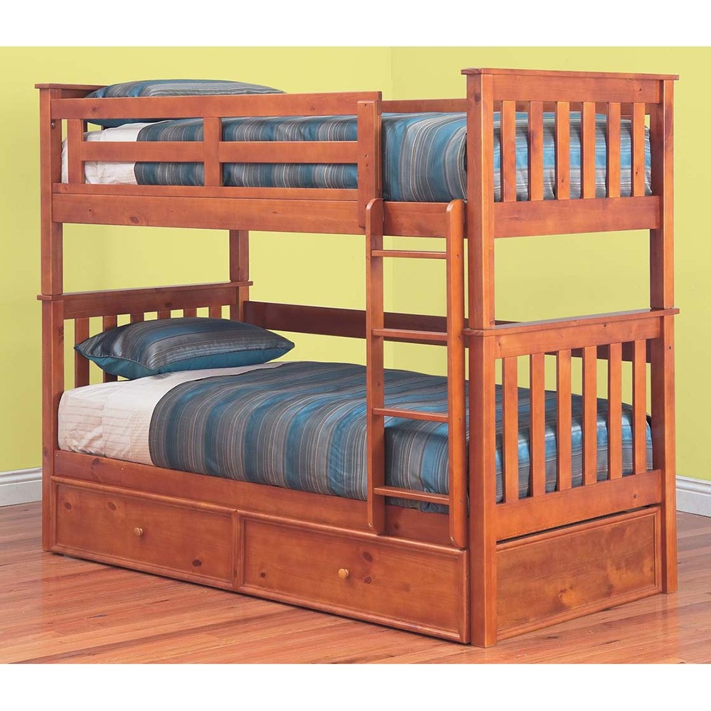 Forte Solid Pine Timber King Single Bunk Bed without Trundle - Teak Finish