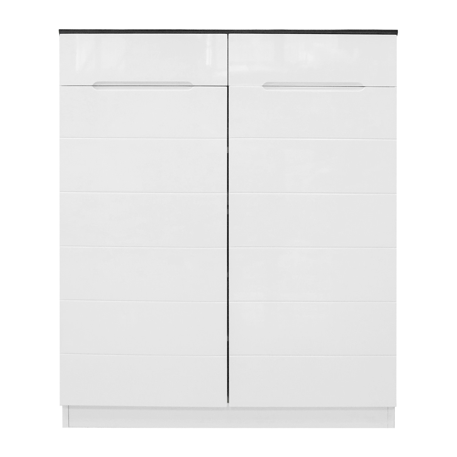 2-Door and 2-Drawer White Shoe Cabinet - 80x101x31.6cm