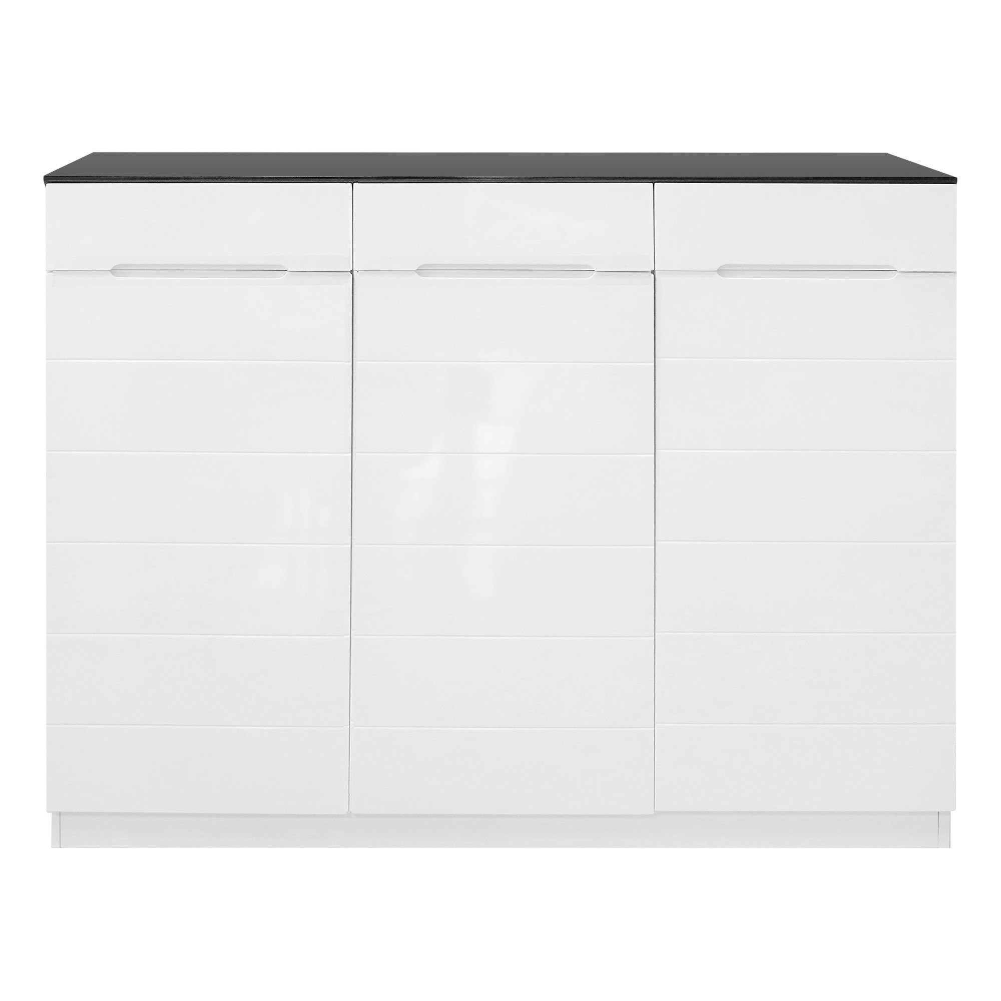 3-Door and 3-Drawer Black and White Shoe Cabinet - 120x101x31.5cm