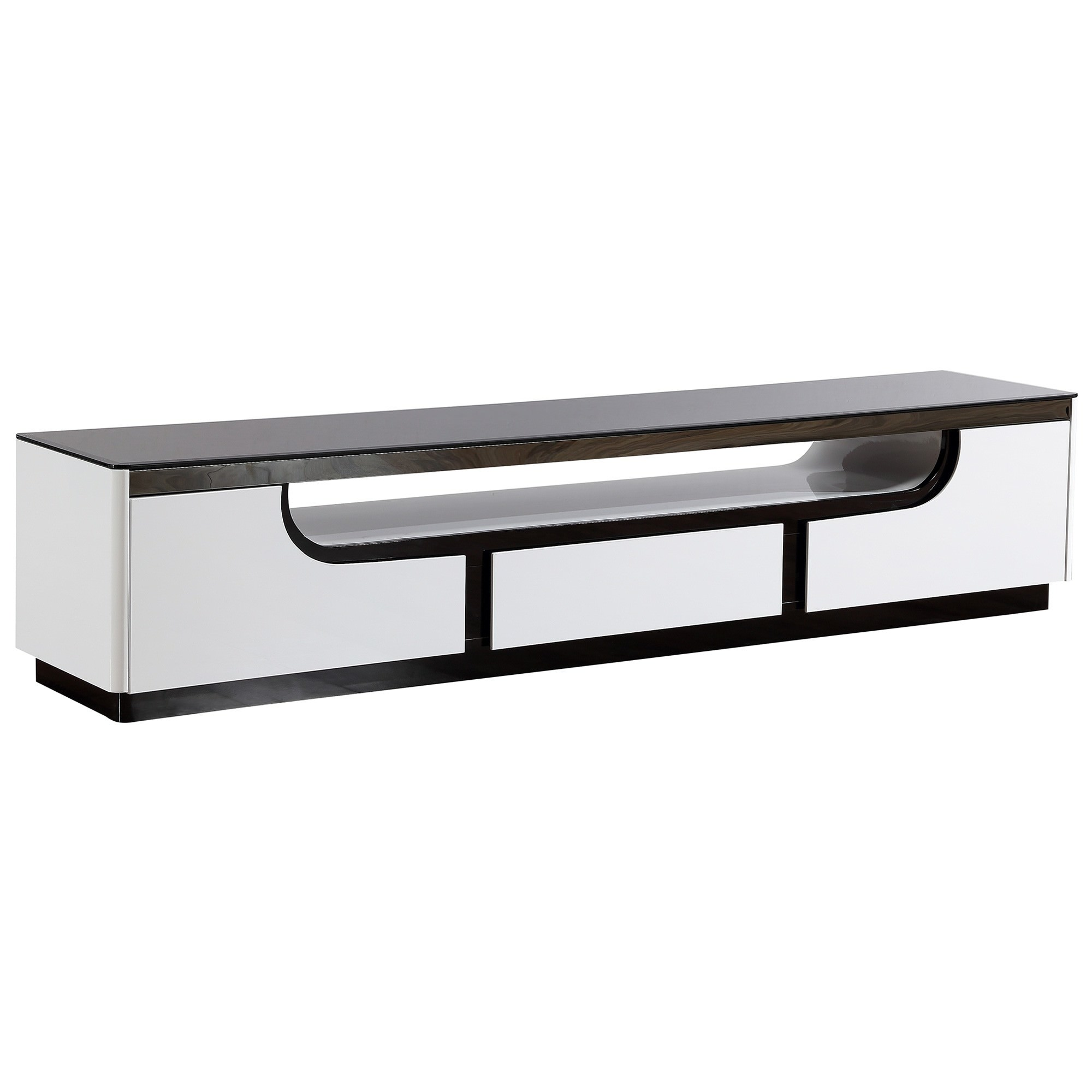 Roche Glass Topped 2 Drawer TV Unit, 200cm, Glossy White