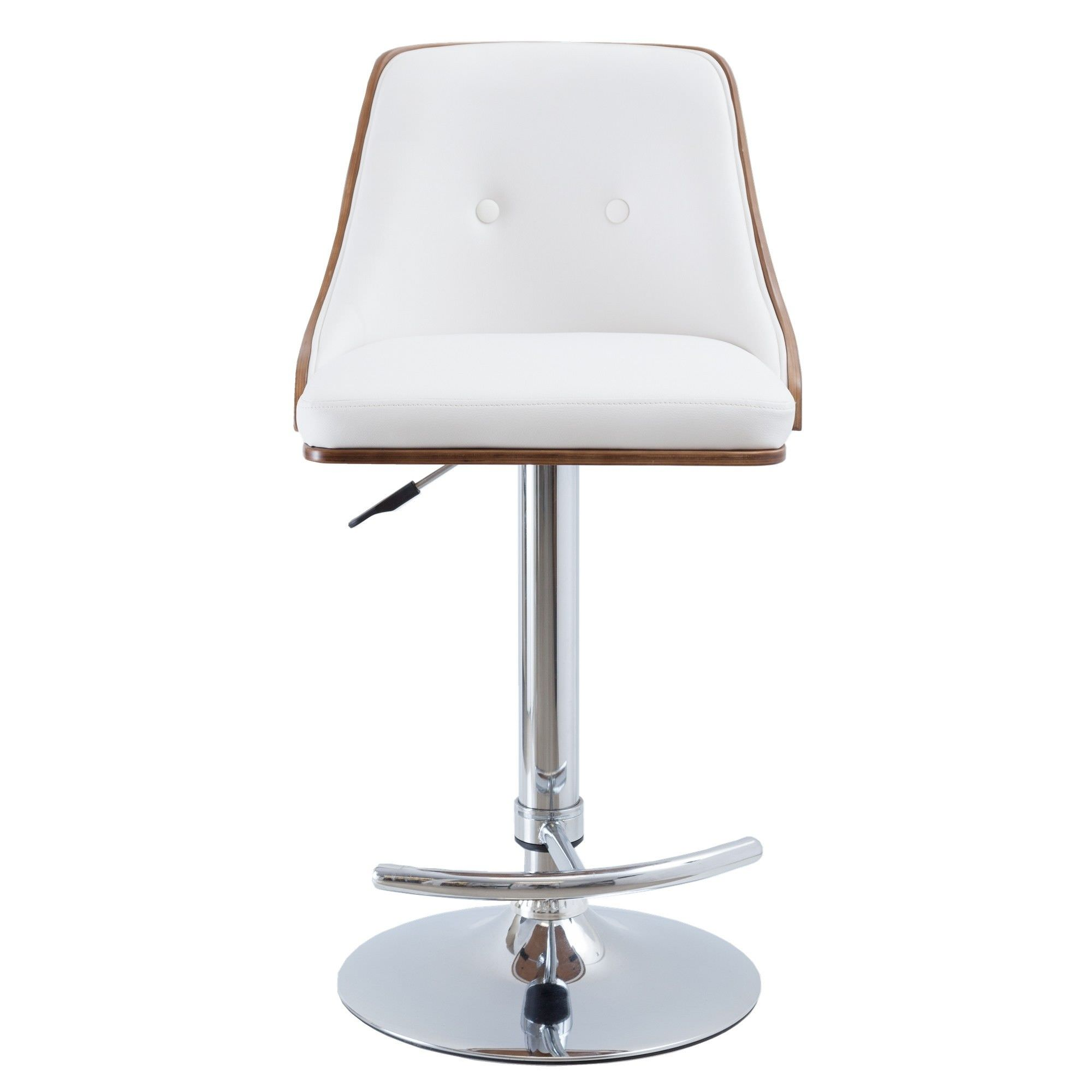 Florence PU Leather & Timber Gas Lift Bar Chair, White