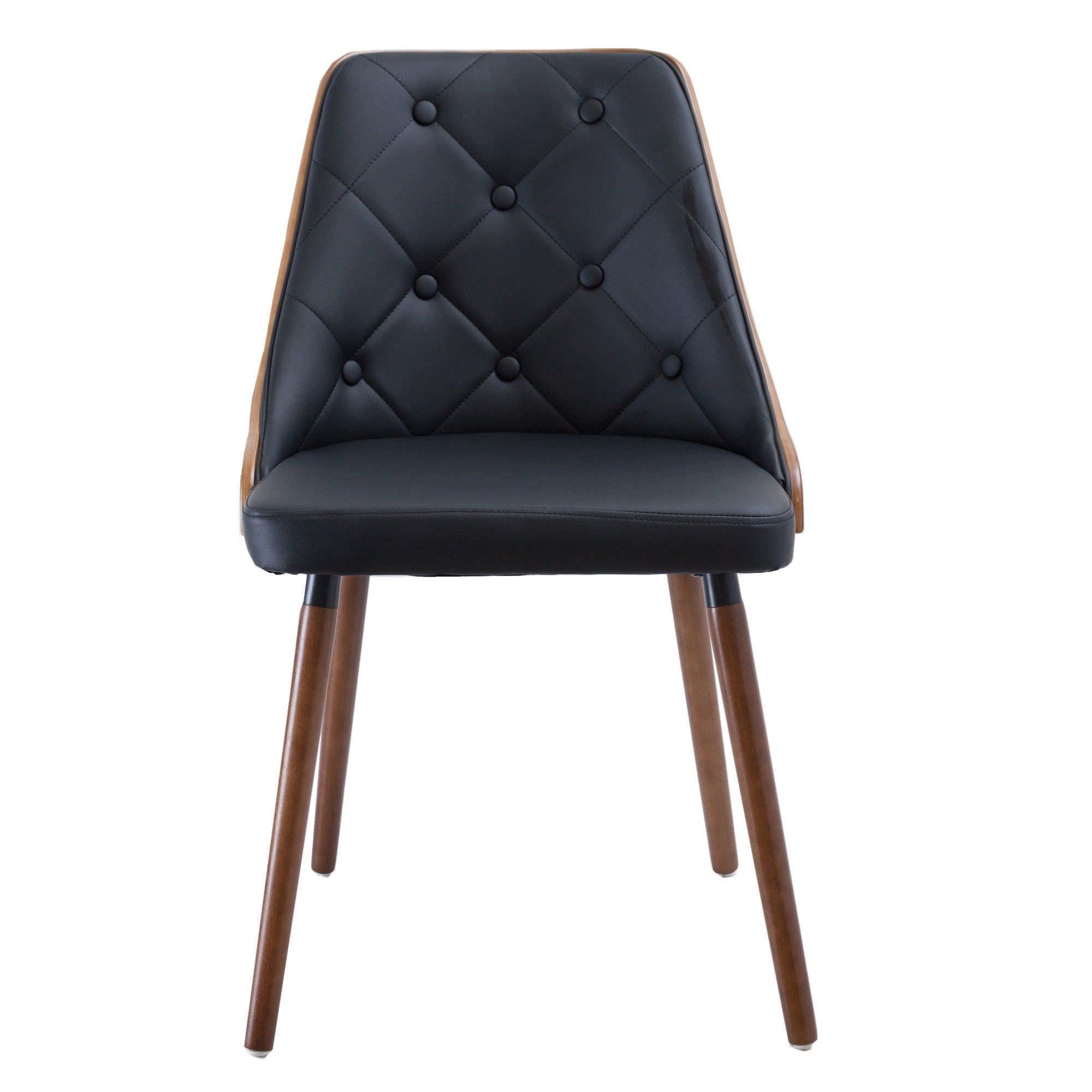 Yvonne Commercial Grade PU Leather  & Timber Dining Chair, Walnut / Black