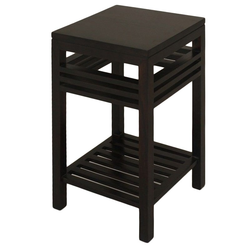 Holland Solid Mahogany Timber Side Table with Shlef, Chocolate