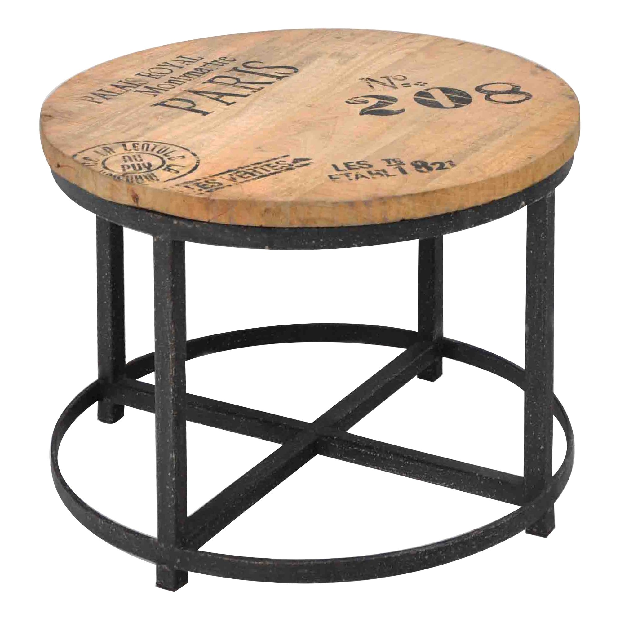 Hardwood Timber 60cm Round Coffee Table with Steel Base