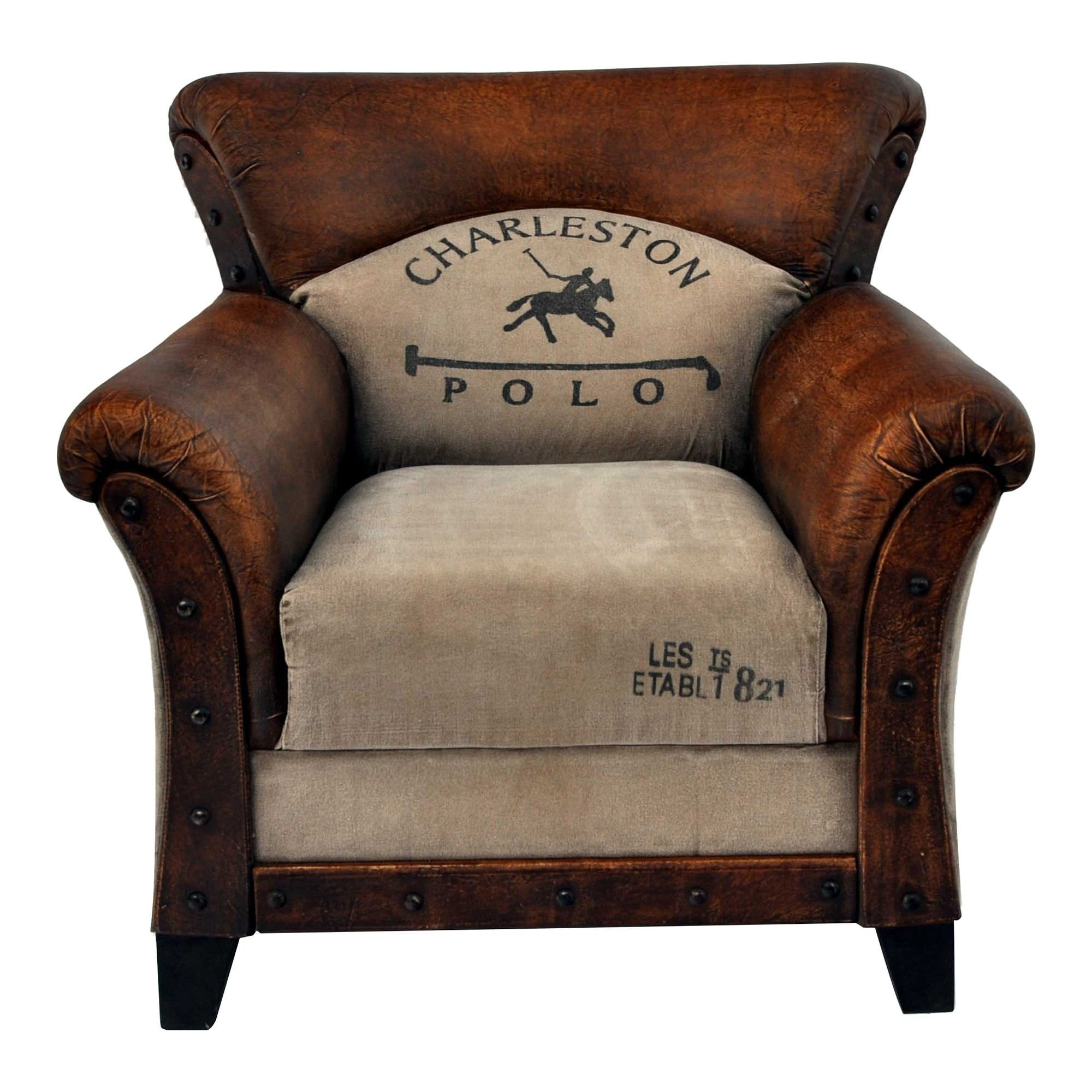 Charieston Polo Upcycled Canvas and Leather Upholstered Armchair