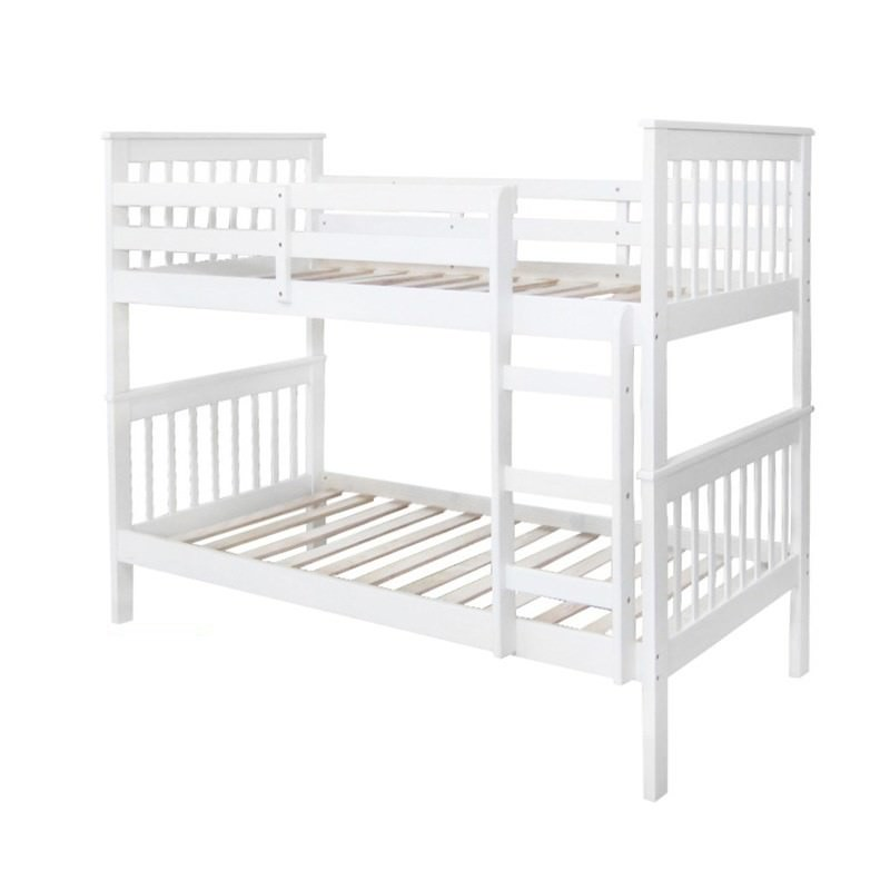Monza New Zealand Pine Timber Bunk Bed, Single, White