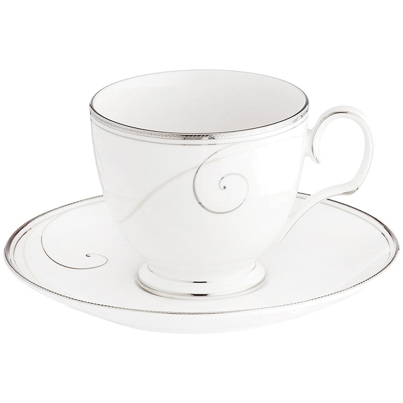 Noritake Platinum Wave Fine China Teacup and Saucer with Gift Box