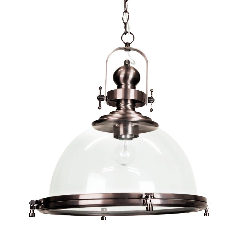 Gaia Industrial Pendant Light with Clear Shade - Antique Silver