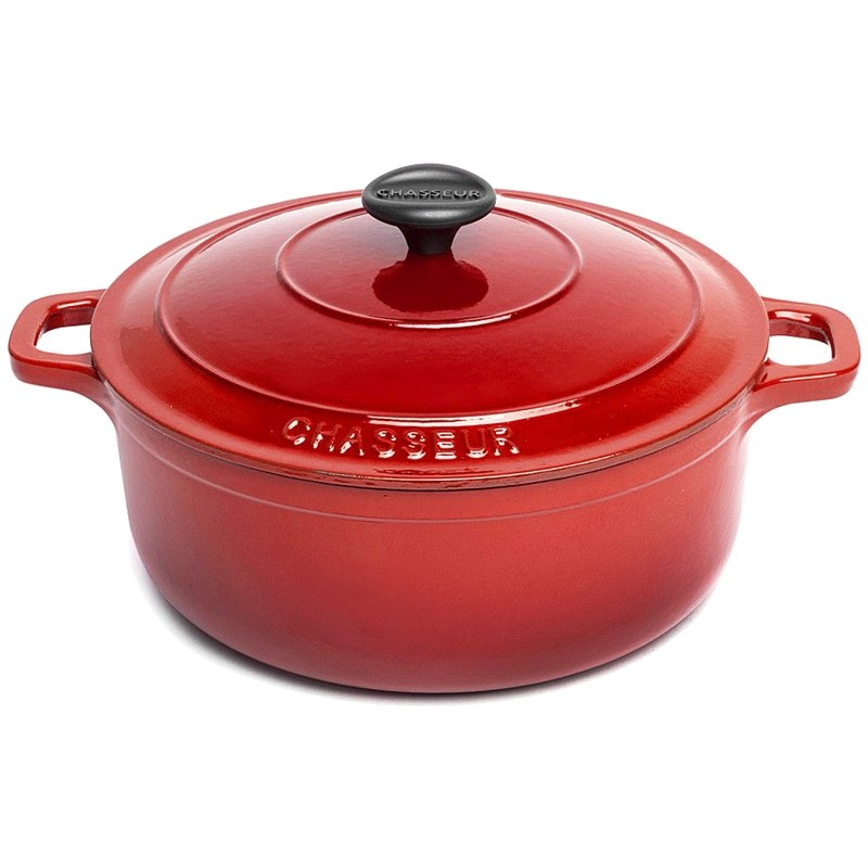 Chasseur Cast Iron Round French Oven, 28cm, Inferno Red