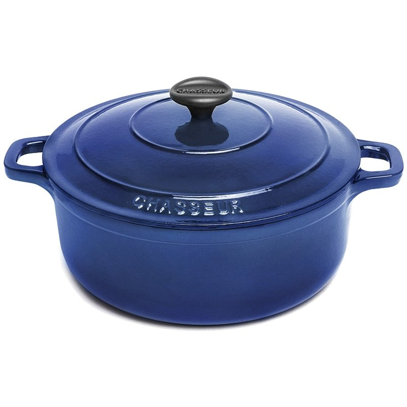 Chasseur Cast Iron Round French Oven, 26cm, French Blue