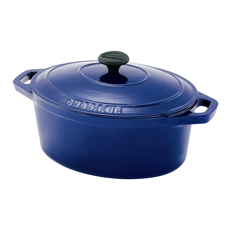 Chasseur Cast Iron Oval French Oven, 27cm, French Blue