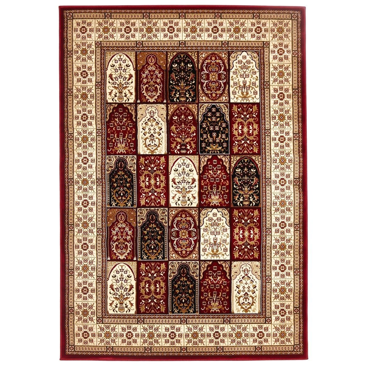 Sydney Traditional Tile Turkish Made Oriental Rug, 170x120cm, Red / Ivory
