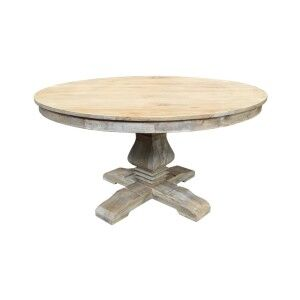 Haux Reclaimed Elm Timber Round Pedestal Dining Table, 140cm