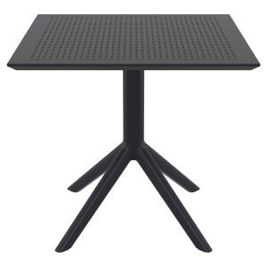 Siesta Sky Commercial Grade Indoor / Outdoor Square Dining Table, 80cm, Black
