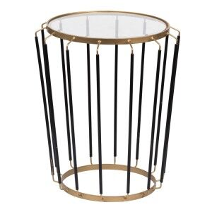Lloyd Glass Topped Iron Side Table