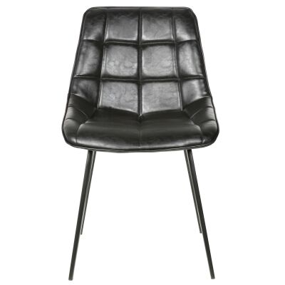 Nantes Commercial Grade Faux Leather Dining Chair, Black