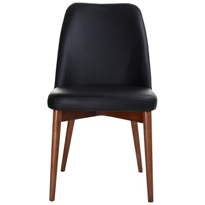 Strano Leather Dining Chair, Black / Blackwood