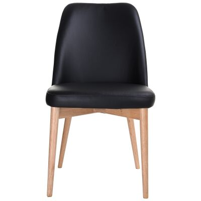 Strano Leather Dining Chair, Black / Natural