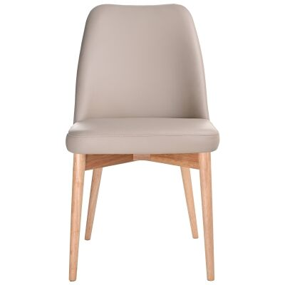 Strano Leather Dining Chair, Light Mocha / Natural