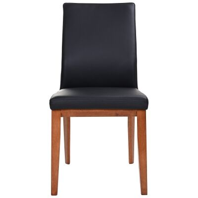 Montano Leather Dining Chair, Black / Blackwood