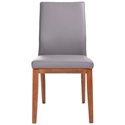 Montano Leather Dining Chair, Mid Grey / Blackwood