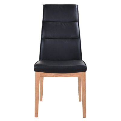 Evoe Leather Dining Chair, Black / Natural