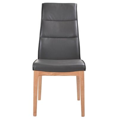 Evoe Leather Dining Chair, Grey / Natural