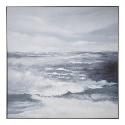 """""""Rolling Tides"""" Framed Textured Canvas Wall Art Print, 100cm"""