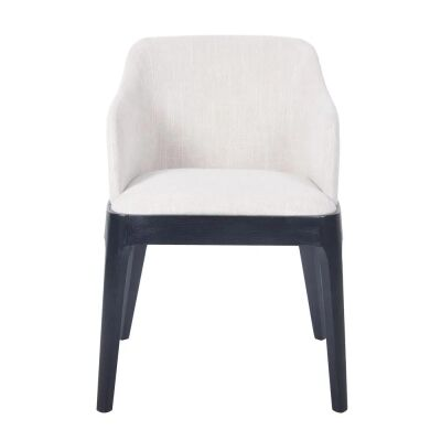 Hayes Fabric Dining Armchair, Oatmeal / Black