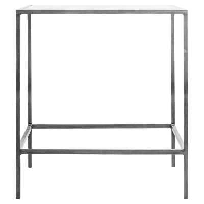 Lotta Glass & Metal Square Side Table, Silver