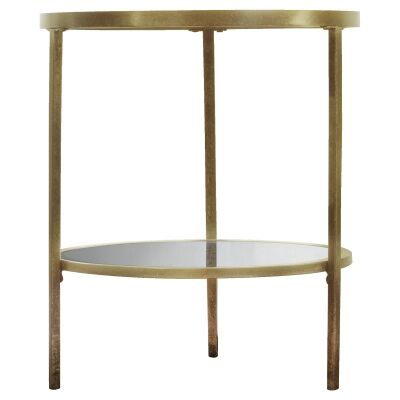 Firmo Glass & Metal Round Side Table, Champagne Gold