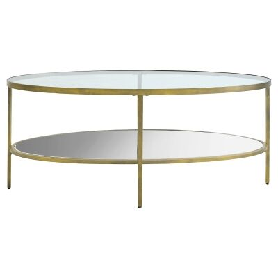 Firmo Glass & Metal Oval Coffee Table, 112cm, Champagne Gold