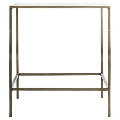 Lotta Glass & Metal Square Side Table, Champagne Gold