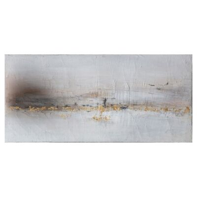 """""""Golden Coastline"""" Stretched Textured Abstract Canvas Wall Art, 150cm"""