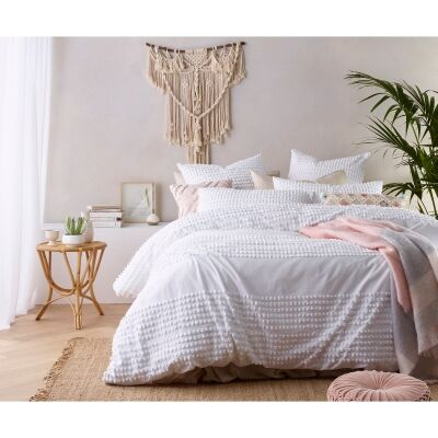 Vintage Design Homeware Betty Washed Cotton Quilt Cover Set, King, White